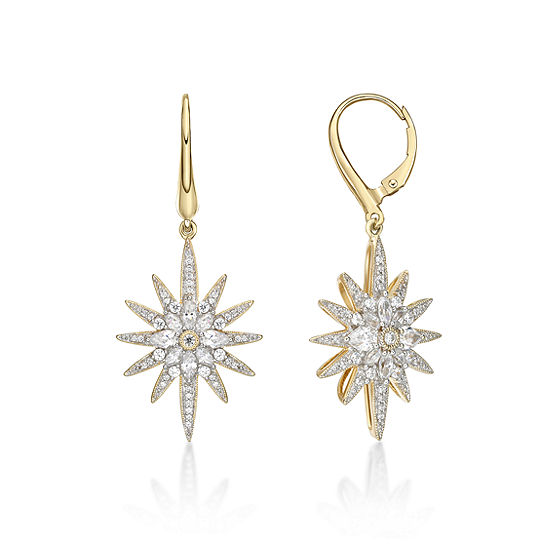 DiamonArt® 1 7/8 CT. T.W. White Cubic Zirconia 14K Gold Over Silver Star Drop Earrings