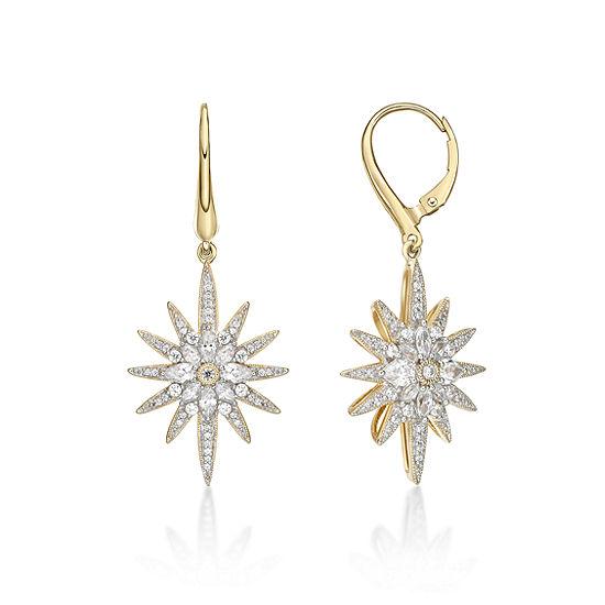 DiamonArt® 1 7/8 CT. T.W. White Cubic Zirconia 14K Gold Over Silver Star Drop Earrings