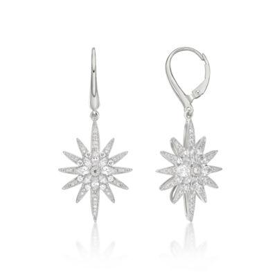 Diamonart 1 7/8 Ct. T.W. White Cubic Zirconia Sterling Silver Star Drop Earrings