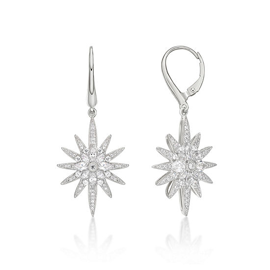 Diamonart 1 7/8 CT. T.W. White Cubic Zirconia Sterling Silver Star Drop Earrings