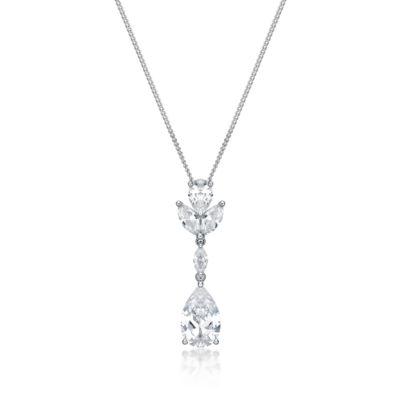 Diamonart Womens 4 1/2 CT. T.W. White Cubic Zirconia Sterling Silver Pendant Necklace