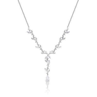 Diamonart Womens 3 CT. T.W. White Cubic Zirconia Sterling Silver Y Necklace