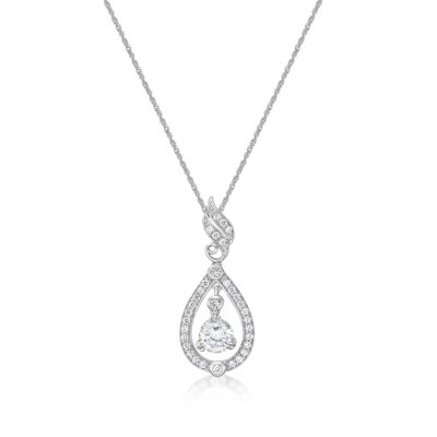 Diamonart Womens 1 7/8 CT. T.W. White Cubic Zirconia Pendant Necklace
