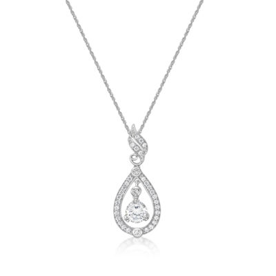 Diamonart Womens 1 7/8 Ct. T.W. White Cubic Zirconia Sterling Silver Pendant Necklace
