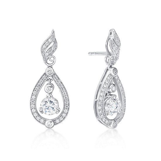 Diamonart 2 1/5 CT. T.W. White Cubic Zirconia Sterling Silver Drop Earrings