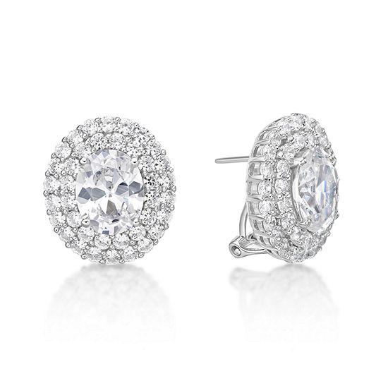 Diamonart White Cubic Zirconia Sterling Silver Clip On Earrings