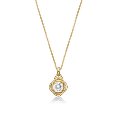 Diamonart Womens 1 1/4 CT. T.W. White Cubic Zirconia 14K Gold Over Silver Pendant Necklace