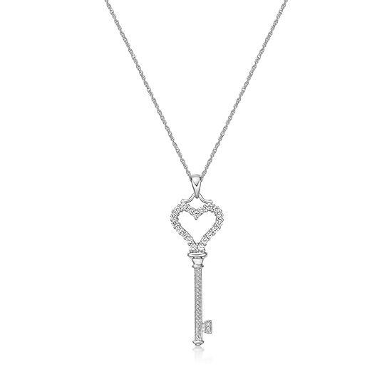 Diamonart Womens 1/2 CT. T.W. White Cubic Zirconia Sterling Silver Keys Pendant Necklace