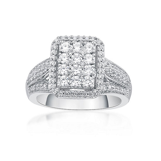 Diamonart Womens 1 CT. T.W. White Cubic Zirconia Sterling Silver Cocktail Ring