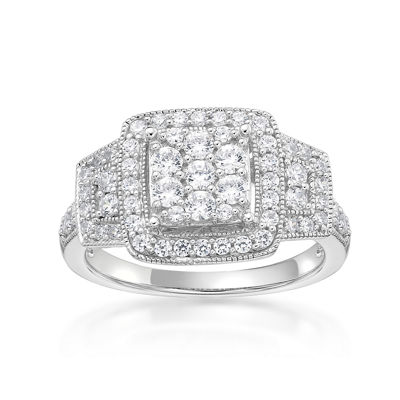 Diamonart Womens 3/4 CT. T.W. White Cubic Zirconia Sterling Silver Cocktail Ring