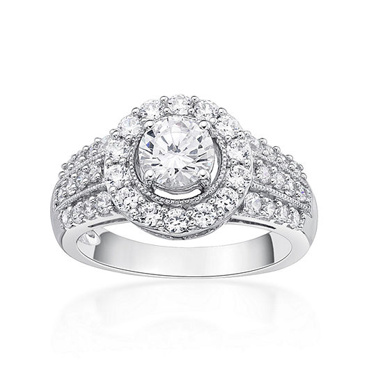 Diamonart Womens 1 5/8 CT. T.W. White Cubic Zirconia Sterling Silver Cocktail Ring