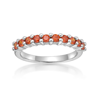 Diamonart Womens 2mm 5/8 CT. T.W. Orange Cubic Zirconia Sterling Silver Band
