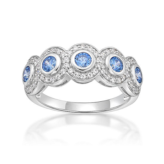 DiamonArt® 2MM 7/8 CT. T.W. Blue Cubic Zirconia Sterling Silver Band