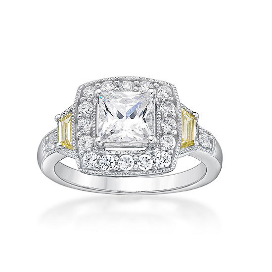 DiamonArt® Womens 2 CT. T.W. White Cubic Zirconia Sterling Silver Cocktail Ring