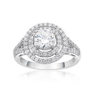 Diamonart Womens 1 1/2 CT. T.W. White Cubic Zirconia Sterling Silver Cocktail Ring