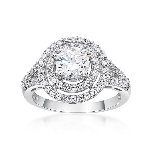 DiamonArt® Womens 1 1/2 CT. T.W. White Cubic Zirconia Sterling Silver Cocktail Ring