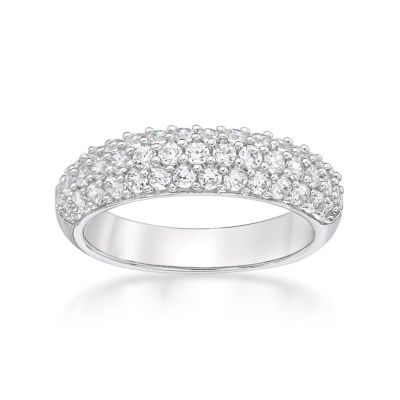 Diamonart Womens 3.5mm 1 1/10 CT. T.W.  White Cubic Zirconia Sterling Silver Band