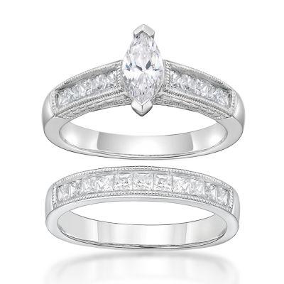 Diamonart Womens 1 7/8 CT. T.W. White Cubic Zirconia Sterling Silver Bridal Set