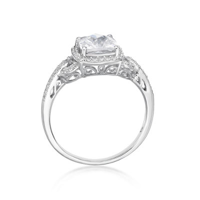 Diamonart Womens 1 3/8 CT. T.W. White Cubic Zirconia Sterling Silver Cocktail Ring