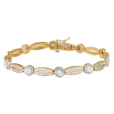 1/2 CT. T.W. Genuine White Diamond 14K Gold Over Silver Tennis Bracelet