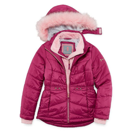 Free Country - Girls Hooded Heavyweight Puffer Jacket-Big Kid