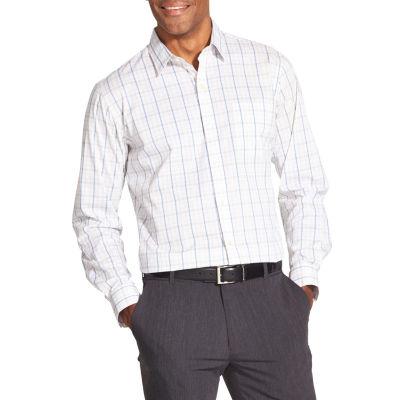 Van Heusen Van Heusen Traveler Long Sleeve Slim Stretch Shirt Long Sleeve Plaid Button-Front Shirt-Slim