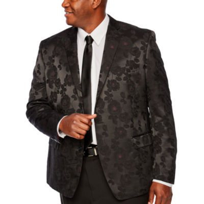 Shaquille O'Neal XLG Black and Burgundy Floral Sport Coat - Big and Tall