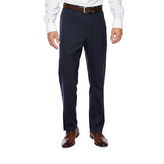 Collection By Michael Strahan Blue Striped Slim Fit Stretch Suit Pants