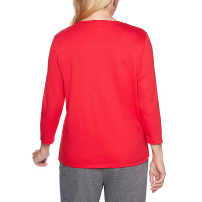 Alfred Dunner Sutton Place 3/4 Sleeve V Neck T-Shirt-Womens