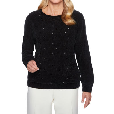 Alfred Dunner Classics Womens Crew Neck Long Sleeve Pullover Sweater