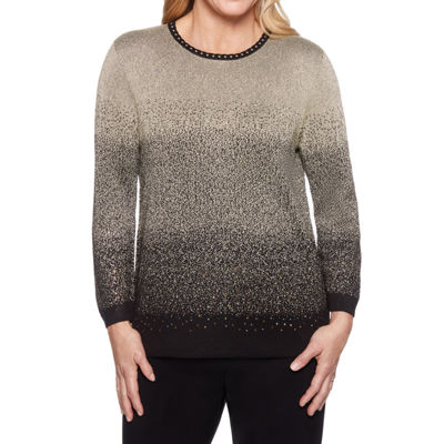 Alfred Dunner Classics Womens Round Neck 3/4 Sleeve Pullover Sweater