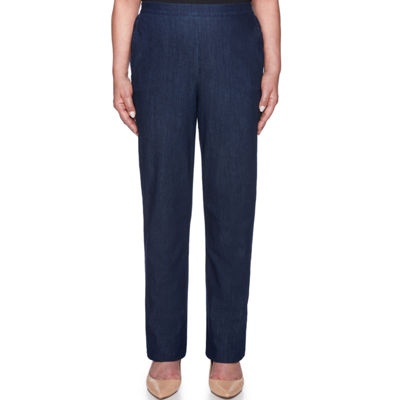 Alfred Dunner New Flash Womens High Waisted Straight Pull-On Pants