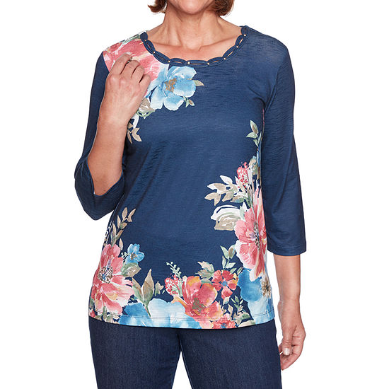 Alfred Dunner New Flash-Womens Round Neck 3/4 Sleeve T-Shirt
