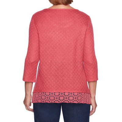 Alfred Dunner News Flash Womens Round Neck 3/4 Sleeve Bordered Pullover Sweater