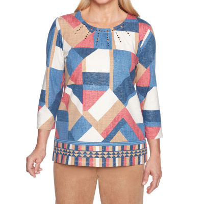 Alfred Dunner New Flash 3/4 Sleeve Round Neck Patchwork T-Shirt-Womens