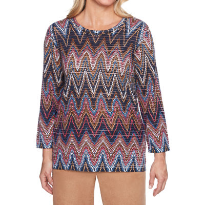 Alfred Dunner New Flash 3/4 Sleeve Round Neck Chevron Pullover Sweater