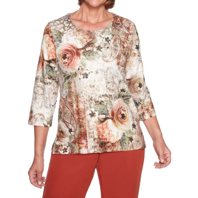 Alfred Dunner Autumn In New York 3/4 Sleeve Round Neck T-Shirt-Womens