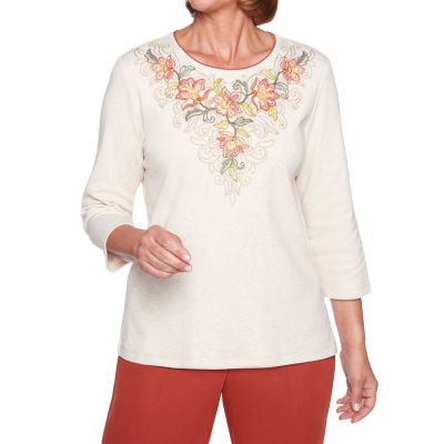 Alfred Dunner Autumn In New York 3/4 Sleeve Round Neck Floral T-Shirt-Womens