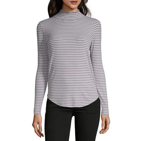 Liz Claiborne-Womens Turtleneck Long Sleeve T-Shirt