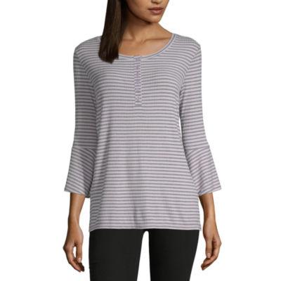 Liz Claiborne 3/4 Sleeve Henley Neck Stripe T-Shirt-Womens
