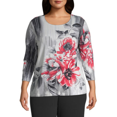 Alfred Dunner Sutton Place Brushstroke Floral Blouse - Plus