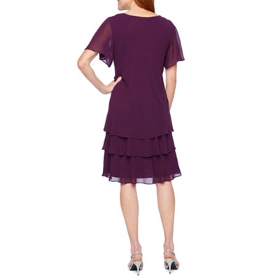 Onyx Nites Short Sleeve Embellished Shift Dress
