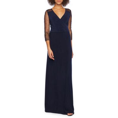 DJ Jaz 3/4 Sleeve Beaded Evening Gown