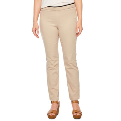 St. John's Bay Womens Straight Pull-On Pants-Petite