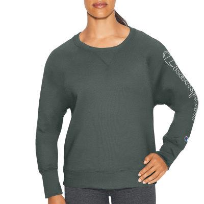 Champion Fleece Bf Graphic Long Sleeve Crew Neck T-Shirt-Womens