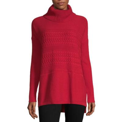 Liz Claiborne Womens Turtleneck Long Sleeve Pullover Sweater