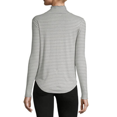 Liz Claiborne-Womens Turtleneck Long Sleeve T-Shirt