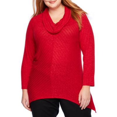 Alyx Long Sleeve Cowl Neck Knit Blouse - Plus