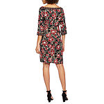 Robbie Bee 3/4 Sleeve Floral Puff Print Sheath Dress