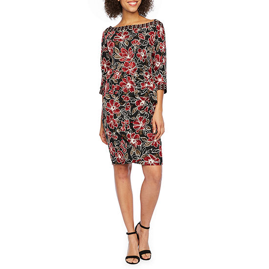 Robbie Bee 3 4 Sleeve Floral Puff Print Sheath Dress